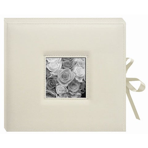 Pioneer Sewn Leatherette Frame Cover 3-ring Cream Photo Box Album with Ribbon Closure