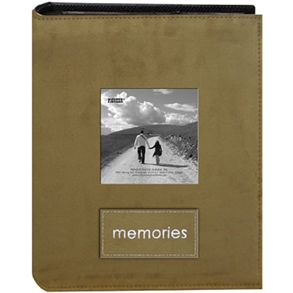 Pioneer Sewn Faux Suede Fabric Frame Cover Tan Albums with Embroidered 'Memories' Patch  (Pack of 2)