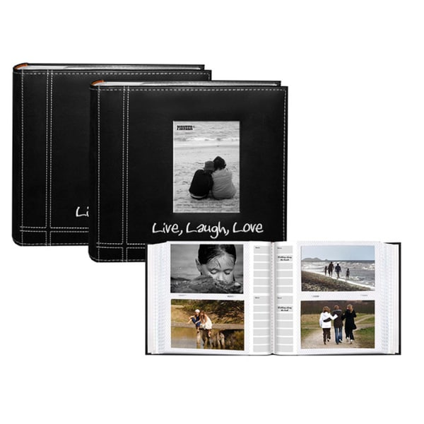 Pioneer Sewn 'Live-Laugh-Love' Frame Design Black Leatherette Memo Photo Albums (Pack of 2)