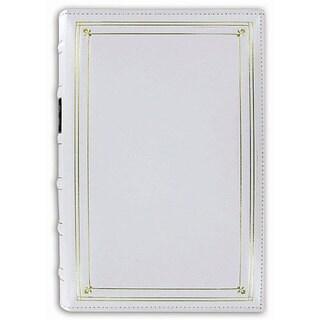 Pioneer European Bonded White Leather 3-ring Bi-directional Memo Album with 60 Bonus Pockets
