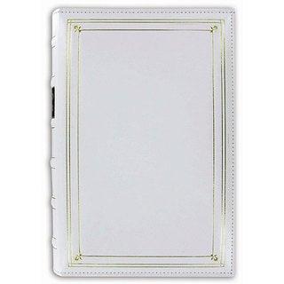 Pioneer European Bonded White Leather 3-ring Bi-directional Memo Album with 60 Bonus Pockets