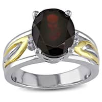 Miadora 10-karat Gold and Sterling Silver Oval-cut Garnet Ring