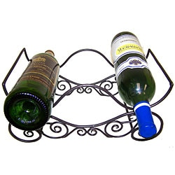 Handcrafted Scroll Wine Bottle Stand (India)