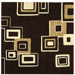 Safavieh Handmade Soho Gala Modern Abstract Brown/ Beige Wool Rug (6' Square)