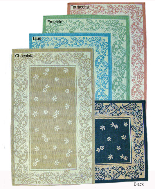 Paisley Floral Indoor/ Outdoor Rug (7'10 x 11'2)