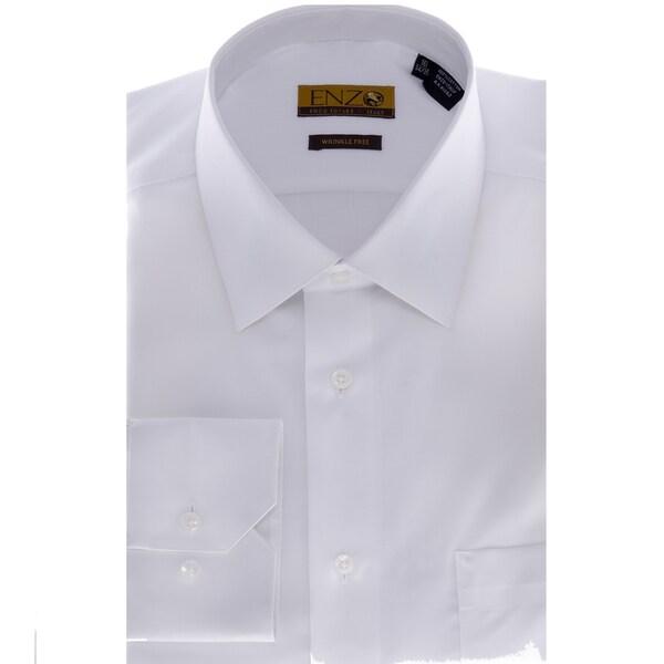 Men's Solid White Barrel-cuffed Dress Shirt