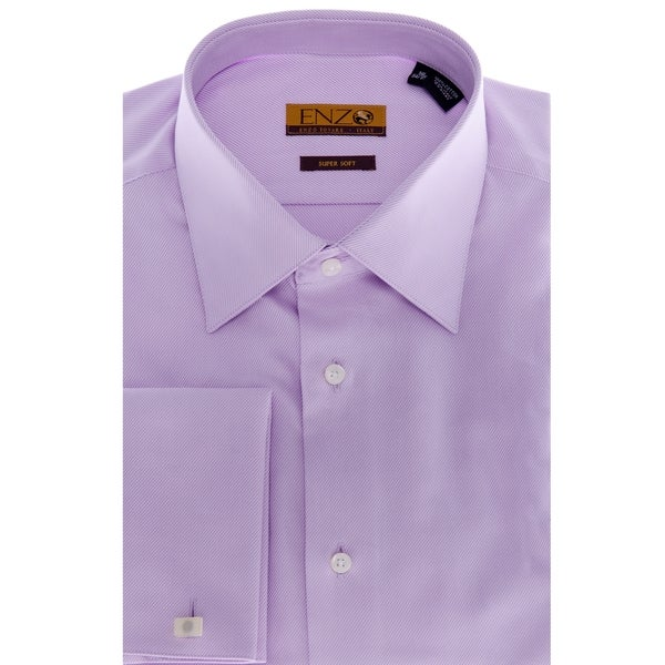 Men 39 S Lavender French Cuff Twill Dress Shirt Free
