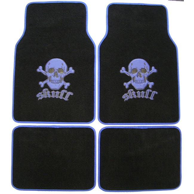 Blue Skull and Crossbones Car/ Truck Floor Mat Set