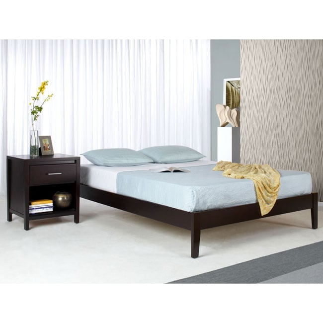 Solid Wood Tapered-Leg King-Size Platform Bed - Free ...