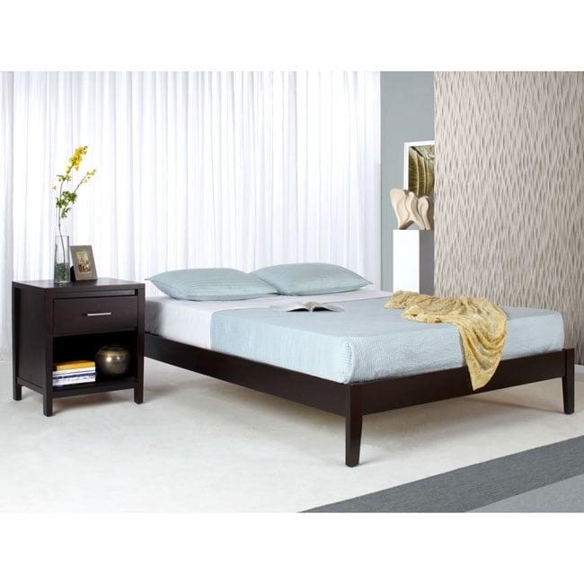 Solid Wood Tapered-Leg King-Size Platform Bed