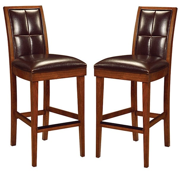 Biscuit Back Leather-Wood Barstools (Set of 2)