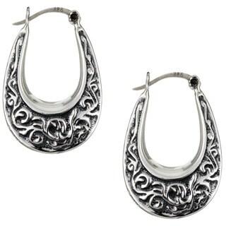 Sterling Essentials Antiqued Sterling Silver Oval Hoop Earrings