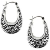 Antiqued Sterling Silver Oval Hoop Earrings