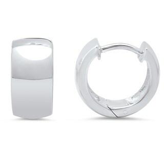 Sterling Essentials Sterling Silver 12mm x 7mm Hinged Hoop Earrings