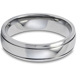 West Coast Jewelry Men's Titanium 5-mm Grooved and Polished Ring - Thumbnail 2