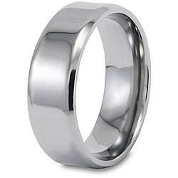 West Coast Jewelry Men's Titanium Beveled-edge Polished Ring (8-mm) - Thumbnail 1