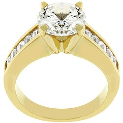 Kate Bissett 14k Goldtone Anniversary-style Clear Cubic Zirconia Ring