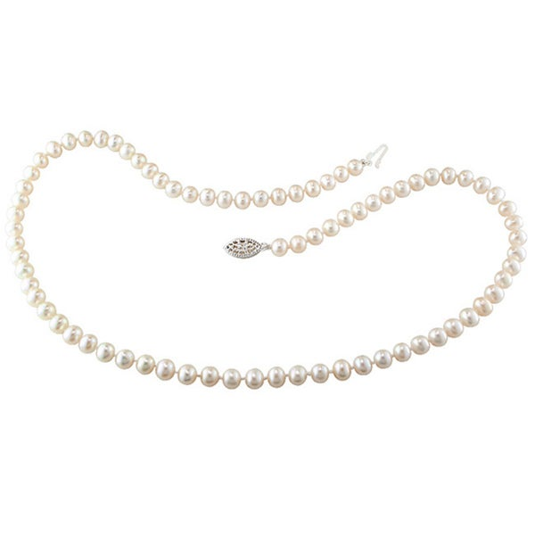 624b21d2550b Miadora Sterling Silver 5-6 mm Cultured Freshwater Pearl Necklace (18 or 24  inch