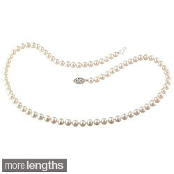 Miadora Sterling Silver 5-6 mm Cultured Freshwater Pearl Necklace (18 or 24 inch) (2 options available)