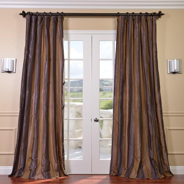 Exclusive Fabrics Signature Brown-Stripe Faux-Silk/Taffeta 120-Inch Curtain Panel