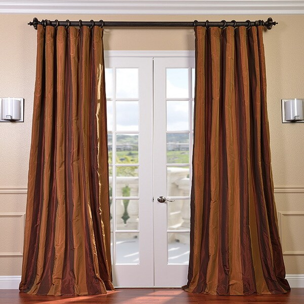 Exclusive Fabrics Signature Stripe Spice Faux Silk Taffeta Curtain Panel