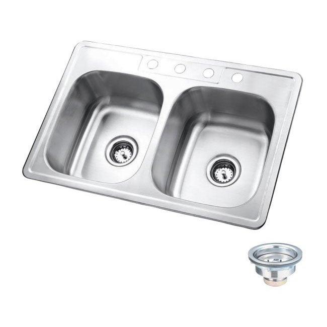 Double Bowl Self-Rimming Stainless Steel Kitchen Sink - Free