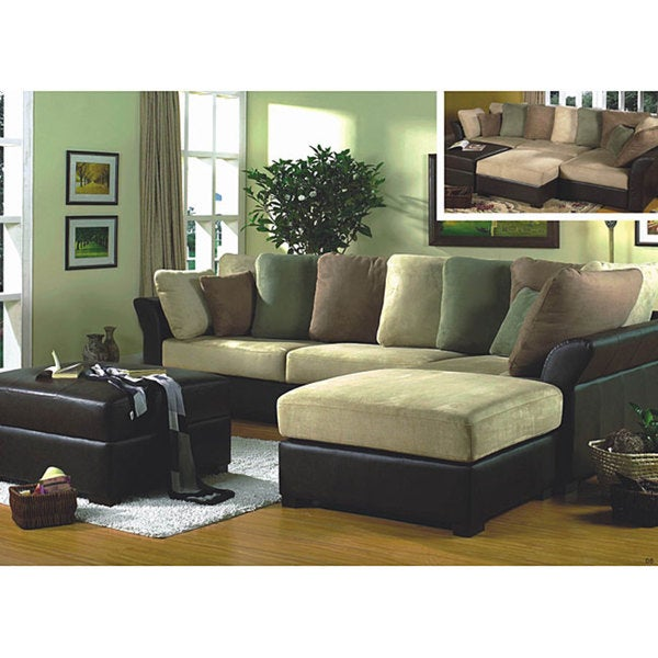 Brittany 4-piece Sofa/ Chaise/ Ottoman Set  sc 1 st  Overstock : sofa with chaise ottoman - Sectionals, Sofas & Couches