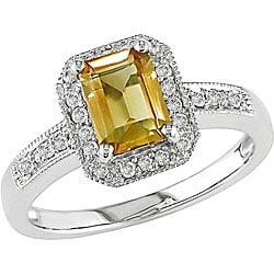 14k White Gold 1/8ct TDW Citrine and Diamond Ring