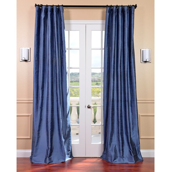 Exclusive Fabrics Signature Winter Blue Textured Silk 96-inch Curtain Panel