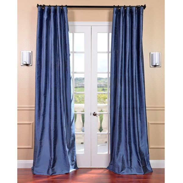 Exclusive Fabrics Signature Winter Blue 120-inch Textured Silk Curtain Panel