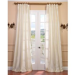 Exclusive Fabrics Signature Pearl White 96-inch Textured Silk Curtain
