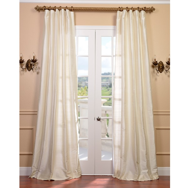 Exclusive Fabrics Signature Pearl White 96-inch Textured Silk Curtain