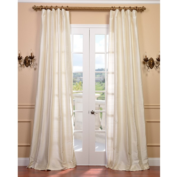 Exclusive Fabrics Signature Pearl White 108-inch Textured Silk Curtain