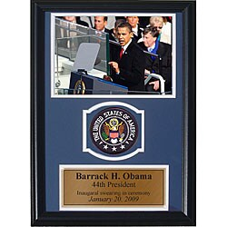 Barrack Obama 12x18 Custom Framed Print with Patch