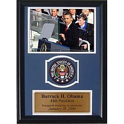 Barrack Obama 12x18 Custom Framed Print with Patch