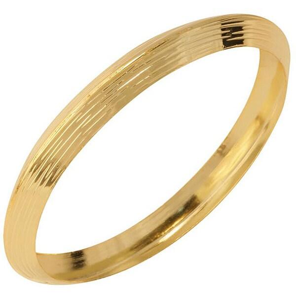 NEXTE Jewelry Goldtone Knife Edge Textured Bangle Bracelet