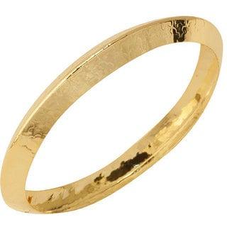 NEXTE Jewelry Goldtone Knife Edge Hammered Bangle Bracelet