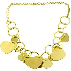 Fremada 18k Gold over Silver Hearts Necklace