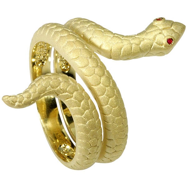 Nexte FrostedGoldtone CZ Red-eyed Snake Ring