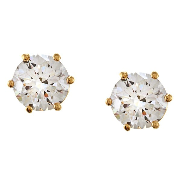 NEXTE Jewelry 14k Gold Overlay CZ Martini Solitaire Stud Earrings