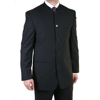 Shop Ferrecci Men S Black Mandarin Collar Suit Free