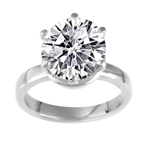 NEXTE Jewelry 14k White Gold Overlay Martini CZ Solitaire Ring