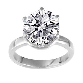 NEXTE Jewelry 14k White Gold Overlay Martini CZ Solitaire Ring (More options available)