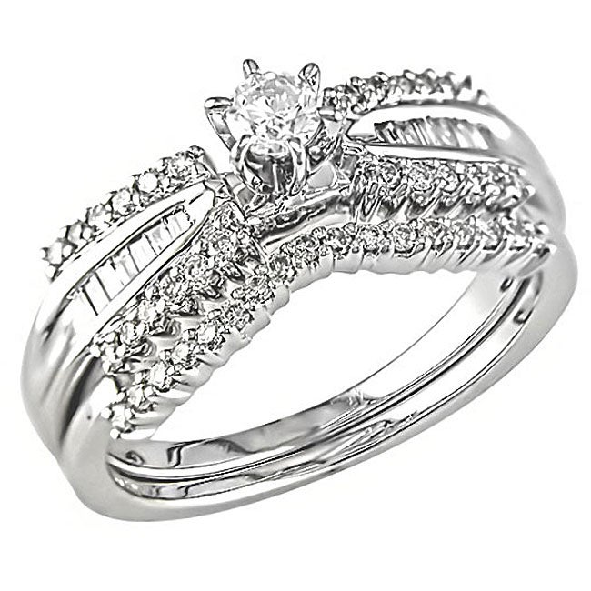 14k Gold 1/2ct TDW 6-Prong Round and Baguette Diamond Bridal Set (G-H, I1-I2)
