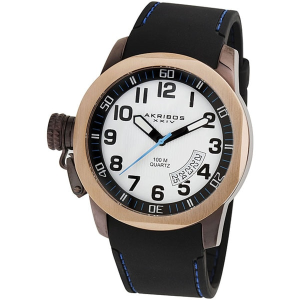 Akribos XXIV Men's Swiss Quartz Date Canteen Top White Watch