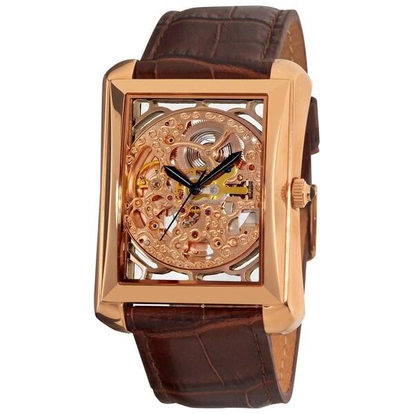 Akribos XXIV Men's Skeleton Automatic Leather Rose-Tone Strap Watch
