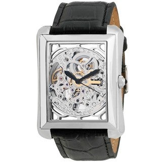 Akribos XXIV Men's Skeleton Automatic Silver-Tone Strap Watch