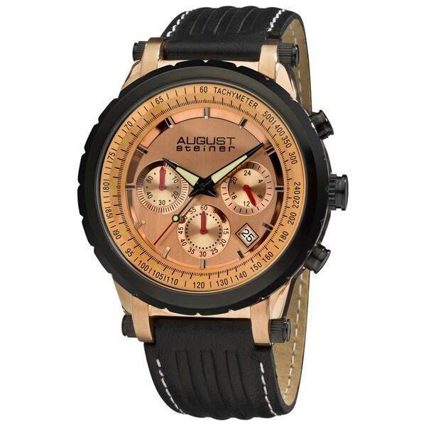 August Steiner Men's Rosetone Case Quartz Chronograph Watch
