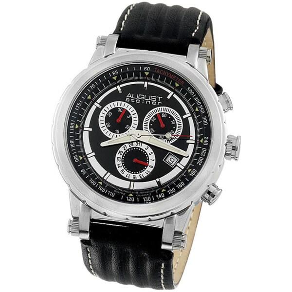 August Steiner Men's Black Strap Quartz Chronograph Watch