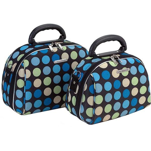 Luca Vergani Multi-Blue Dot 2-piece Cosmetic Case Set